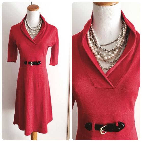 Calvin Klein Medium Red Flare Belted Dress Slip On